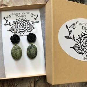 Casey Keith Design Jewelry - Onyx and Serpentine Earrings